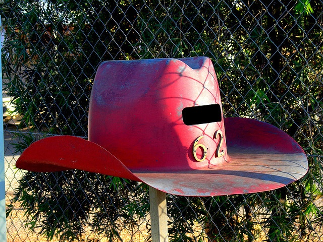 red western cowboy hat outdoor slotted mailbox #red #powdercoating #rustic