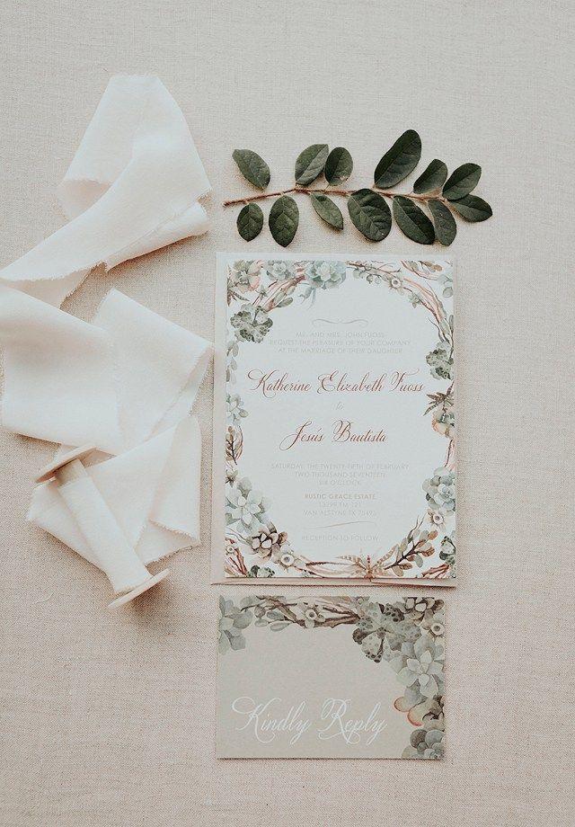 Greenery Succulents Wedding Invitation Suite Undangan Pernikahan Pernikahan Kreatif