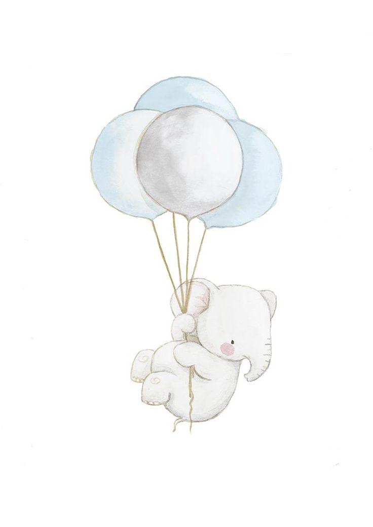 Ilustracion infantil elefante globos azul