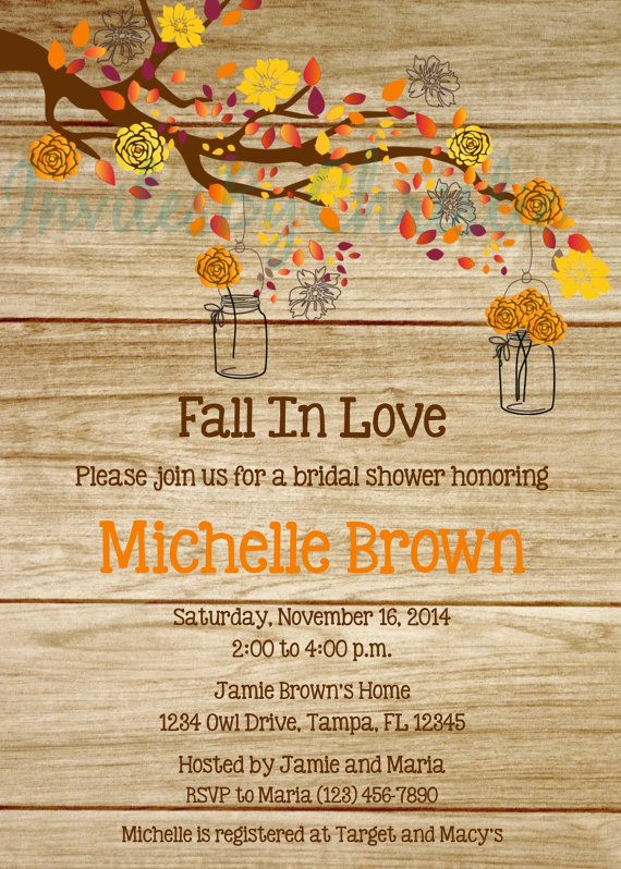 Wood Grain Fall in Love Bridal Shower by InvitesByChristie on Etsy