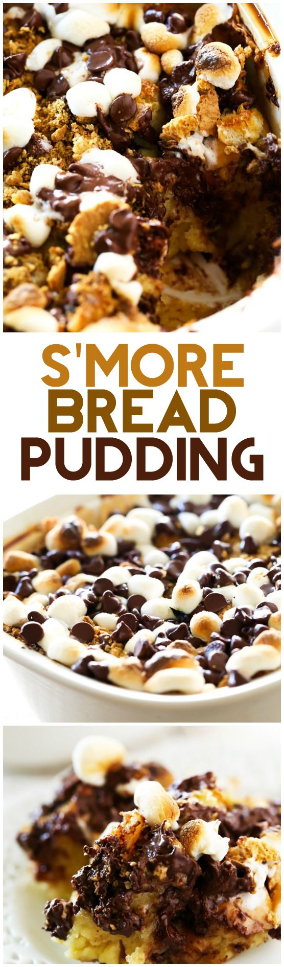 S'more Bread Pudding... This is one incredible recipe! A summer campfire classic is reinvented into one memorable dessert! Gooey marshmallows, melted chocolate and graham cracker are packed into soft bread!