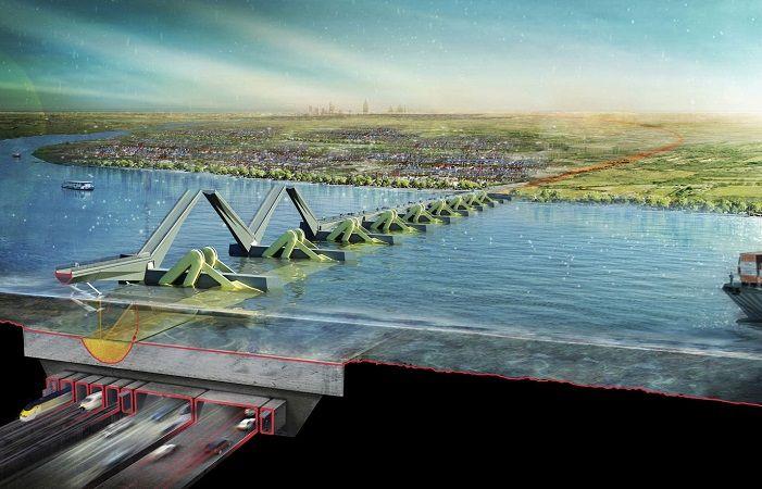 Sistema di protezione dalle inondazioni ed un impianto per la produzione di #energia dalle #maree. Thames Hub Airport su progetto di #Norman #Foster
