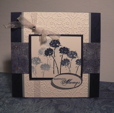 Stamps: Happy Harmony, Delight in Life (Stampin' Up!)  Paper: Night of Navy, Bordering Blue, WWhite, DCWV Old World Mat Stack  Ink: Night of Navy