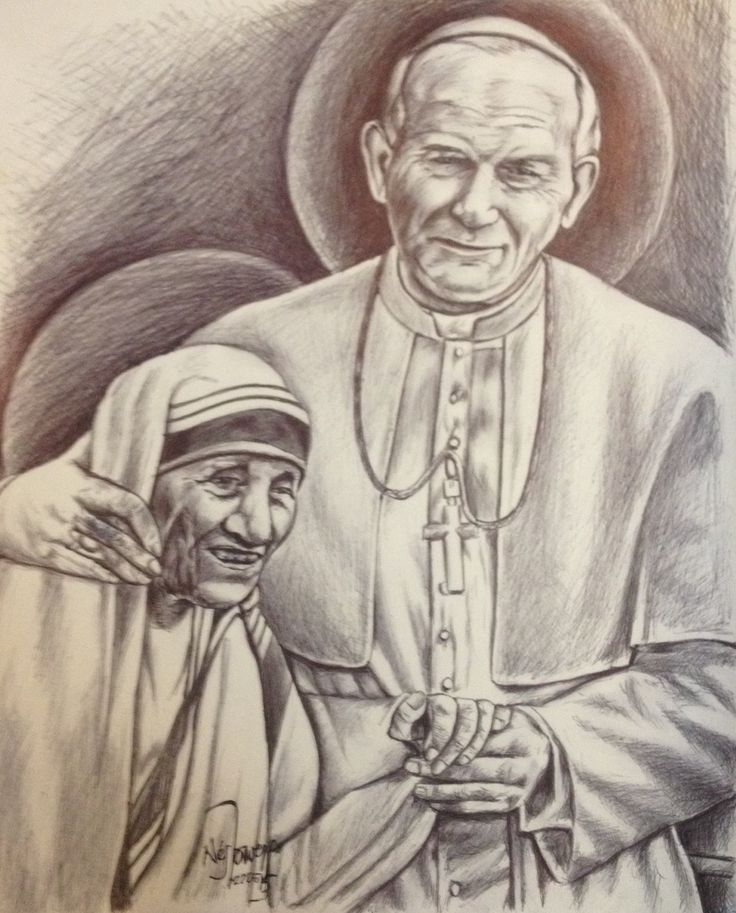 Beata madre Teresa de Calcuta y San Juan Pablo II. Lapicero en papel