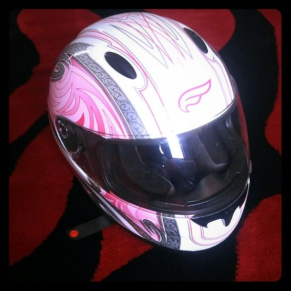 Pink fulmer helmet small! Has a couple scratches on the face sheild, too small for me, hardly worn only as a passenger, no accidents, very cute helmet! Will consider offers :) fulmer Other