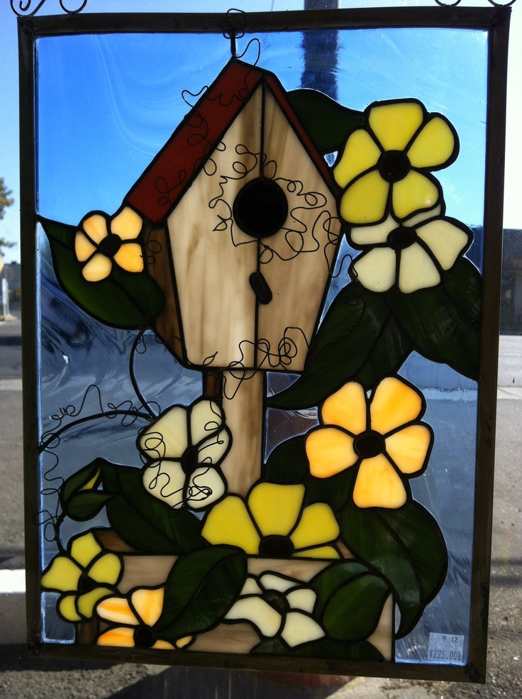 Stained glass bird house Made Tammy GoesslStained Glass