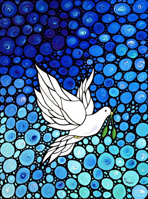 Peaceful Journey - White Dove Peace Art Painting by Sharon Cummings - Peaceful Journey - White Dove Peace Art Fine Art Prints ( I know this isn't glass but it could be made into it.) Vio~