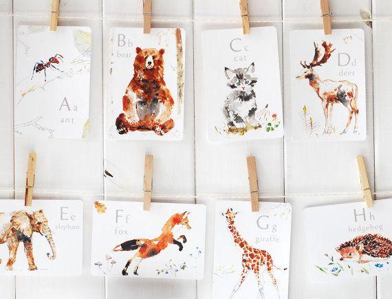 Animal Alphabet Card Set ABC Flash Cards Nursery by ElfinLilac