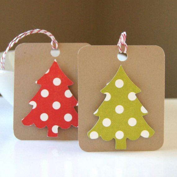 Dotty arbre sur Kraft Noël Tags ou étiquettes par scrapbits sur Etsy
