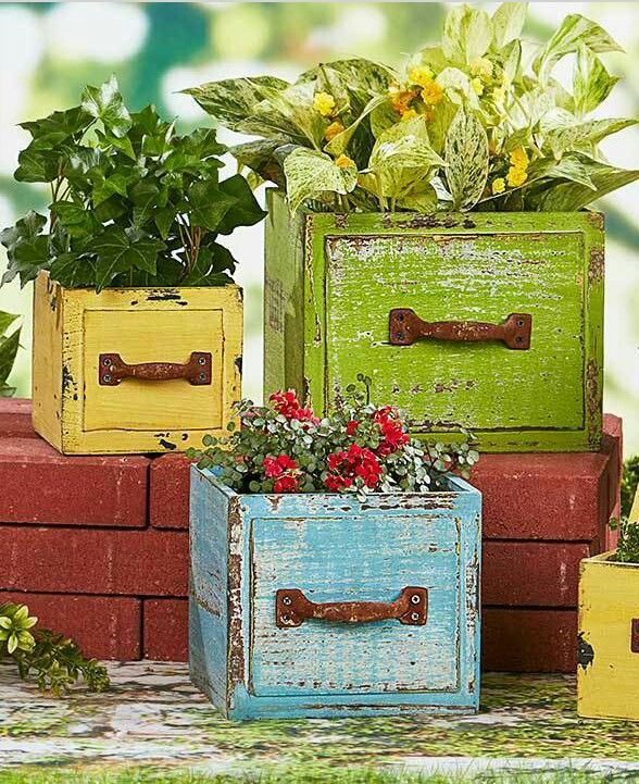 Repurposing old drawers for planters; could be inside or outside plants.