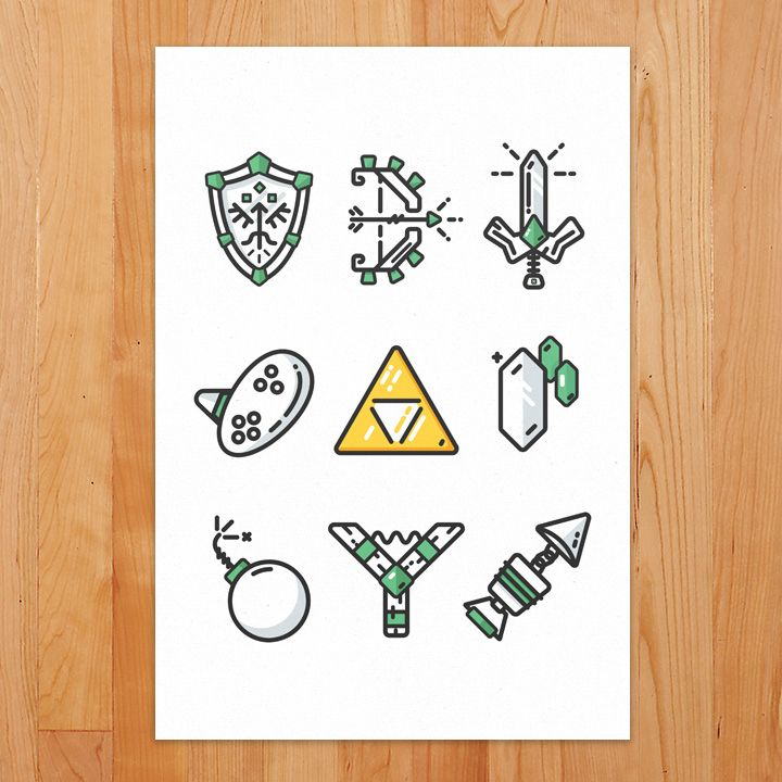 Some (but certainly not all) key essentials to the Ocarina of Time game. A  game that's shaped the way I do a lot of things, especially swing swords at  plants. Hiyahh!  Info     * Printed on Epson Hot Press Bright (330gsm)     * Archival Inks (EpsonUltraChrome K3)     * Bright White Paper     * Matte finish     * Heavy duty, thick paper  Highly recommend thesesimple black framesto go along with the print (just  be sure to choose the right size)