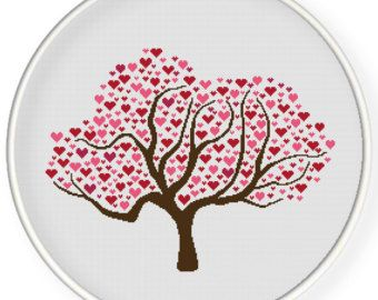 Items similar to Instant download,free shipping,Counted Cross stitch pattern,Cross-Stitch PDF,birds on a heart  tree,valentine's day, zxxc0308 on Etsy
