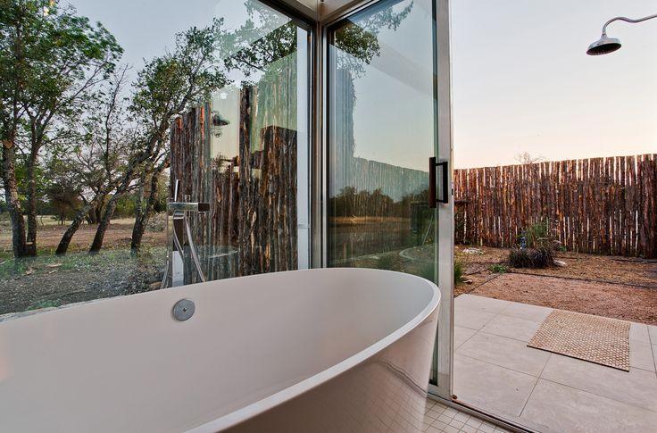 Modern bath, outdoor shower, Texas architecture