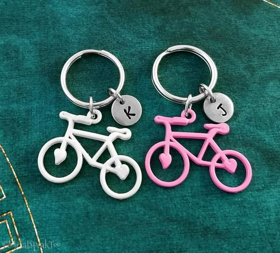Bike Keychain Set Of 2 Small Bicycle Keyrings Cycling Gift Couples