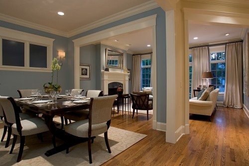 Dining Room traditional dining roomDining Rooms, Wall Colors, Floors Plans, Blue Wall, Living Room, Painting Colors, Dining Room Design, Traditional Dining Room, Open Plan