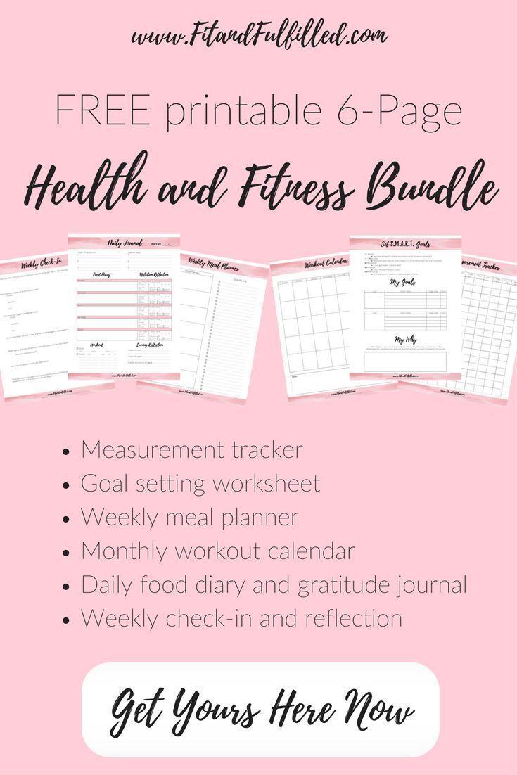 Free Printable Health And Fitness Bundle Measurement Tracker Goal Setting Workshe Fitness Journal Printable Fitness Tracker Printable Fitness Goals Printable