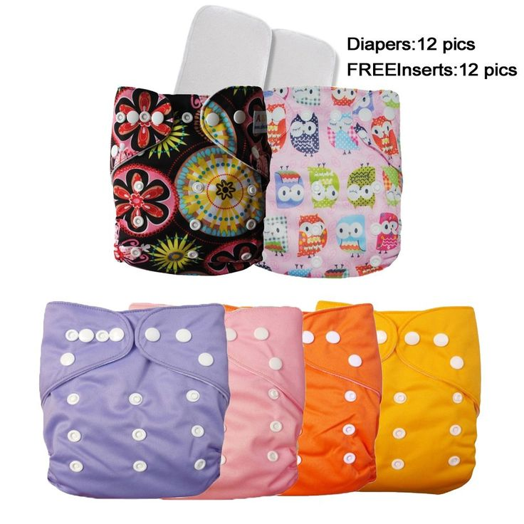 12 Baby Boys/Girls Waterproof Reusable Pocket One Size Cloth Diapers+12 Free Inserts – 09