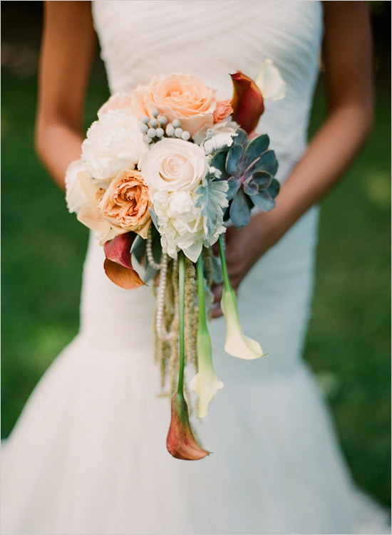 Wedding Bouquets | Peach Cascade
