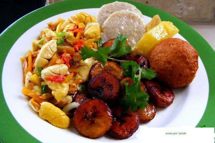 Jamaican national dish.....ackee and saltfish, plantain, dumplin and yellow yam. i luv my culture