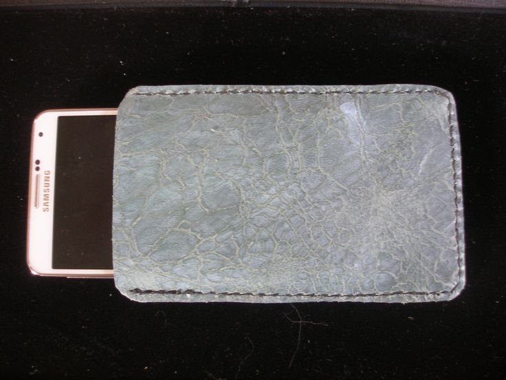 Distressed blue Italian leather cell phone case by AWolfsFancy on Etsy