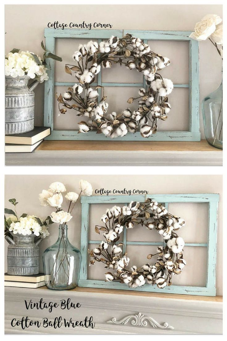 This Site Is Actually To Purchase The Window Pane Which Is Adorable But I Really Loved This Cotton Wreath Farmhouse Style Decorating Frame Wall Decor Decor