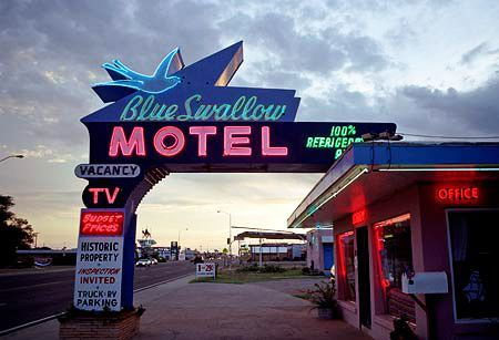 The Blue Swallow Motel is one of Route 66's most beloved landmarks, due in no small part to its spectacular neon sign. Tucumcari, New Mexico.