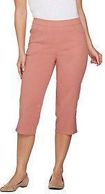 Denim & Co. Pull-on Stretch Capri Pants with Crochet Detail