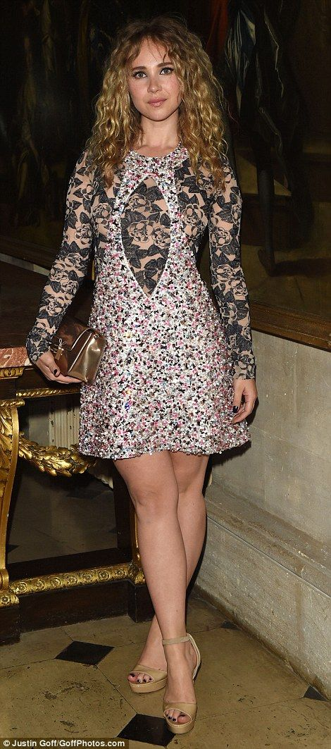 Vinyl star Juno Temple dazzled in multi-coloured sequins and black lace...