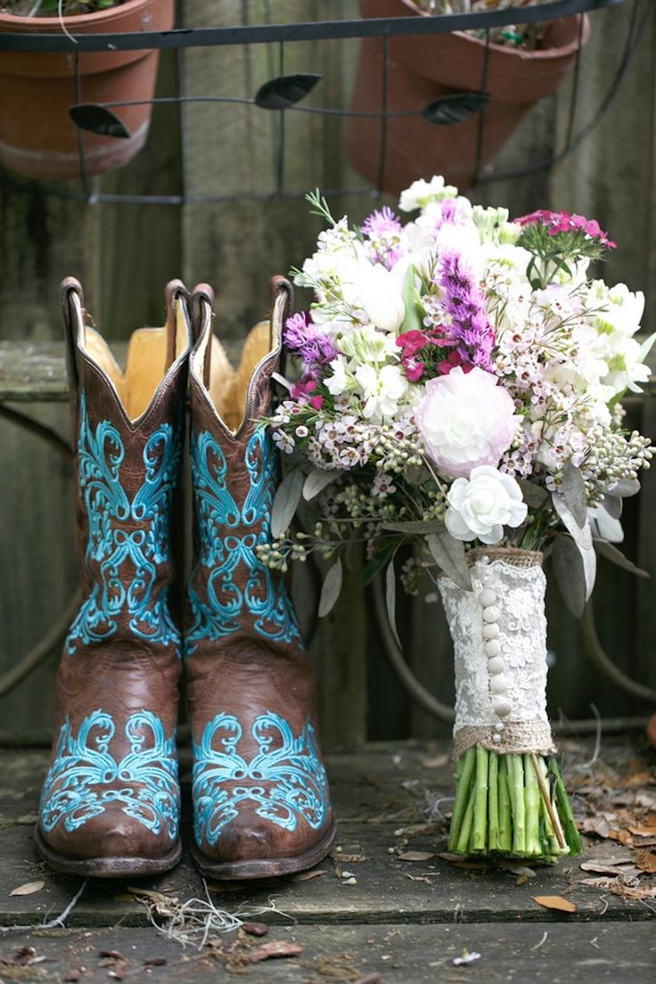 Teal Cowboy Boots And Rustic White Purple Wedding Bouquet