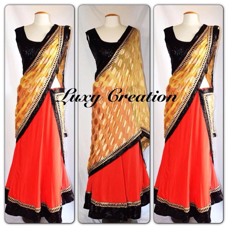 Plain orange, black, and gold lengha with border. Great for navratri time. Maybe with a black and gold design blous