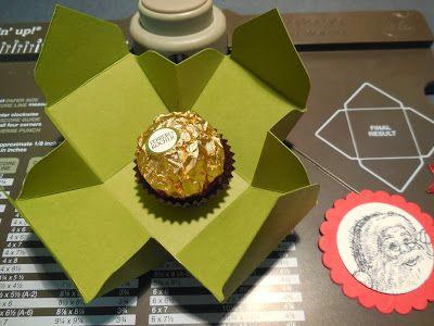 Schoko-Goodie / Envelope Punch Board: RocherBox mit Maße - Exploison Box (klein)