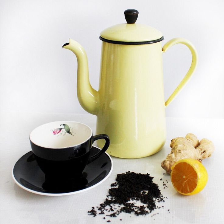 Mid-century black tea cup and yellow enamel teapot for tea lover!