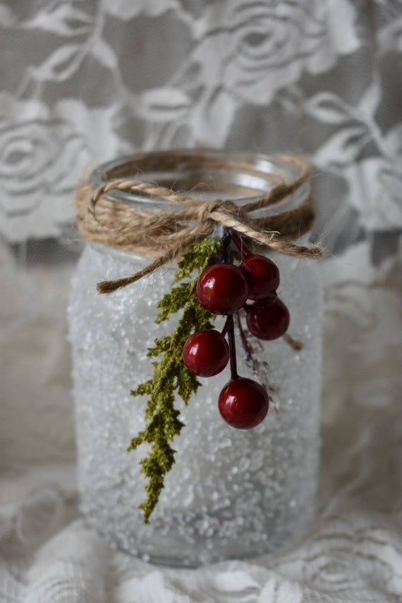 Winter mason jar, Christmas decor, Winter decor, Christmas mason jars, Winter home decor, Winter candle holder, Christmas home decor