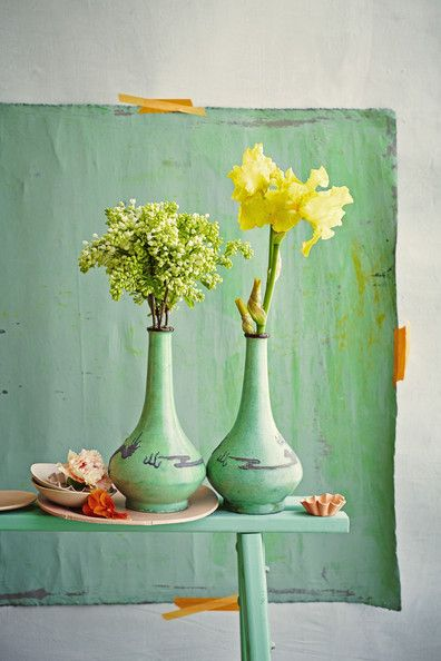 May 2013 Issue - A pair of vases on a green bench