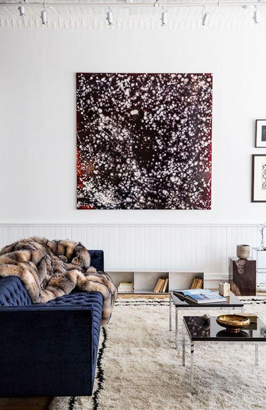 Blue Velvet Tufted Sofa In Modern Living Room / Sfgirlbybay