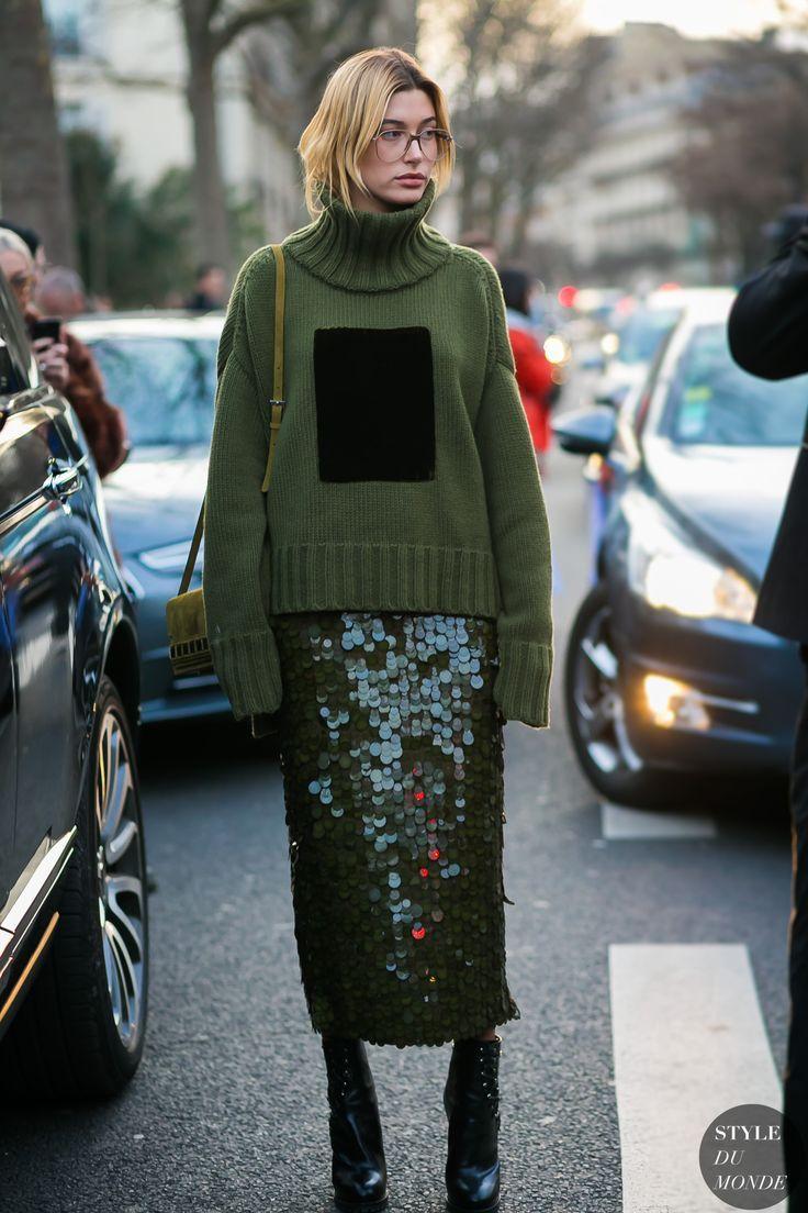 hailey baldwin - paetês + tricô / looks de inverno / winter looks / sequins