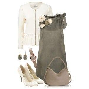 С чем носить белые туфли: серое платье, серая сумка, белая кофта