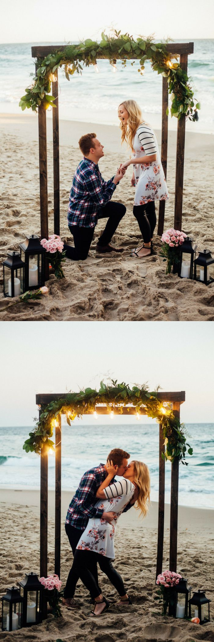 Everything about this beach proposal has us swooning! She was completely surprised, and all the photos are gorgeous.