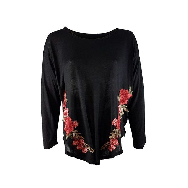 BLACK EMBROIDERD FLOWER TOP £35