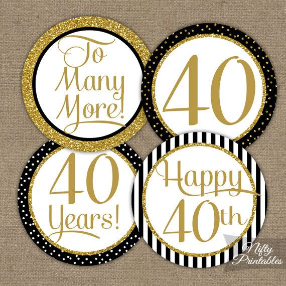 40th Anniversary Cupcake Toppers - Fortieth Anniversary Black