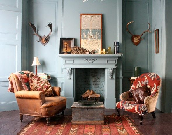 I especially love that everything is painted the same color, the fireplace especially.