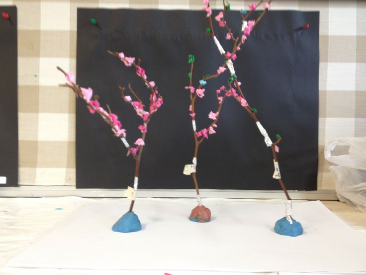 Blossom Trees made with wire and tissue.