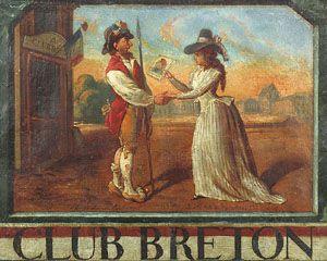 Ce tableau est peint sur deux toiles grossièrement reliées. Selon les historiens, il rend hommage à l'action du Club Breton, ancêtre du Club des Jacobins, pendant la Révolution française. Ici, Anne-Josèphe Théroigne de Méricourt, héroïne de la Révolution, tend un portrait de Louis XVI coiffé d'un bonnet phrygien, à un sans-culotte anonyme posté devant l'entrée du Club Breton.