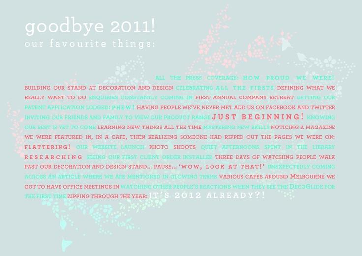 'Goodbye 2011': Reflections by Twenty Six Letters  www.twentysixletters.com.au