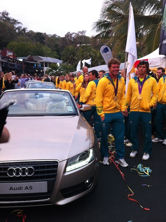 Australia's all-conquering Olympic sailing team get a heroes' welcome at Audi Hamilton Island Race Week.