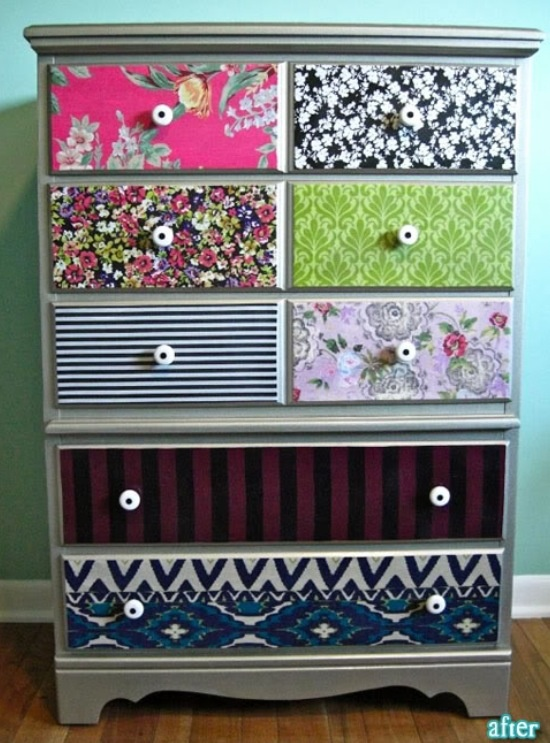 Saw this awesome idea to spice up an old dresser! You paint it a basic color and use old fabrics from shirts or sheets and mod podge them to the drawers! Can't wait to try this!