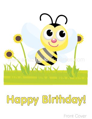 FREE Buzzy Bee Happy Birthday Card
