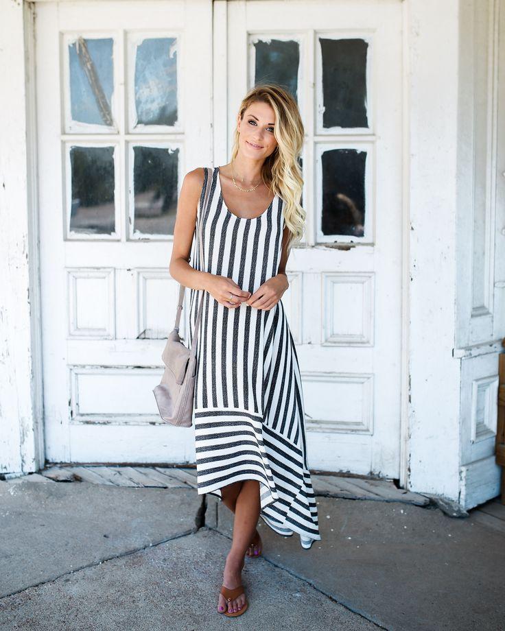 Jaye Striped High Low Maxi Dress - Off White