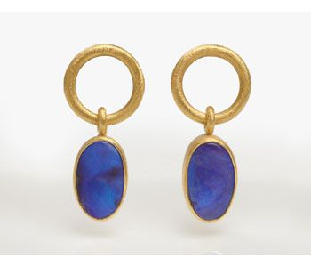 Earrings with boulder opals set in 24ct gold and silver