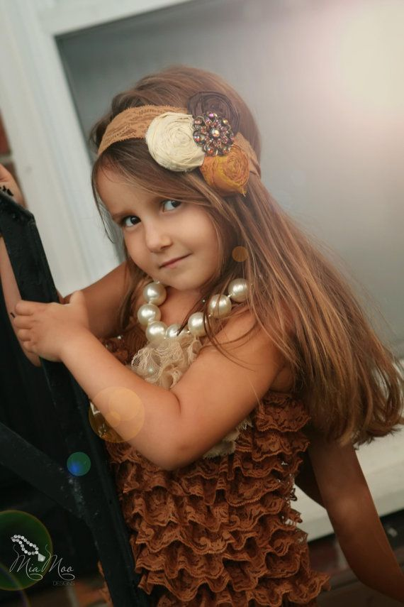 I love her headband !! Ivory Brown and Mustard Yellow Headband M2M by rubyblueinc on Etsy